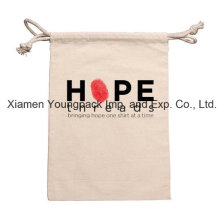 Promotional Small 100% Natural Cotton Calico Canvas Drawstring Pouch