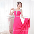 latest pleated design fashion women apparel spaghetti strap maxi chiffon eveing dress
