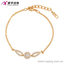 Elegant CZ Diamond Gold-Plated Imitation Jewelry Bracelet for Women - 74134