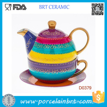 Arty Hand Painted Bold Strips with Cup and Saucer Ceramic Set Tea Pot