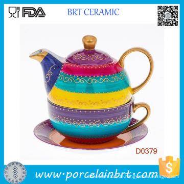 Arty handbemalte fette Streifen mit Tasse und Untertasse Keramikset Teekanne