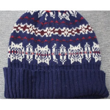 Acrylic Knitted Winter Hat With Pattern