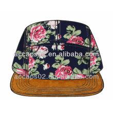 Custom floral plain 5 panneau chapeau