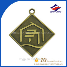 Die casting antique bronze decorative square dog tag