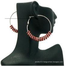 Wholesale Fashion Basketball Wives Earrings 8mm Stone Wheel 5cm Hoop Earrings BWE62