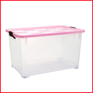 Transparent 70L Household Essentials Nested Storage Boxes Bins with Lids And Sliding Wheels Storage Tubs