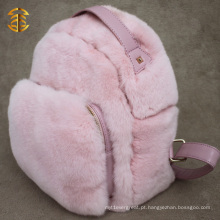 Pink Color Cute Fur Mochilas Real Leather Rex Rabbit Fur Backpack for Girl