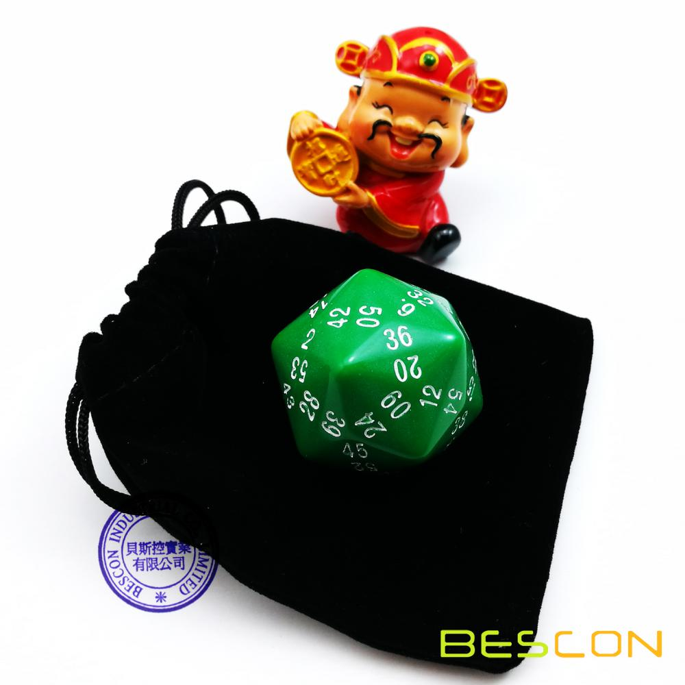 Bescon New Style Polyhedral Dice 60-sided Gaming Dice, D60 die, D60 dice, 60 Sides Dice, 60 Sided Cube of Green Color
