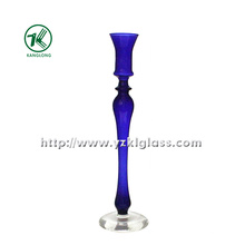 Blue Glass Candle Holder with Single Post by SGS (dia8.5*32.5)