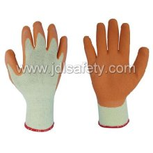 Polyester Work Glove with Latex Coating on Palm (LY2012) -Orange