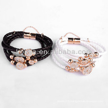Fashion jewelry accessories leather bracelet with snap button in yiwu
