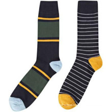 15PKSC03 latest contrast colour strips cotton spandex man socks