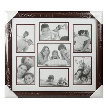8 opening brown double mat family collage frame