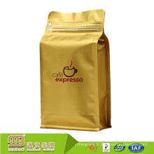 Commerce d'assurance usine fond plat gousset imprimé personnalisé papier aluminium grain de café sacs en gros