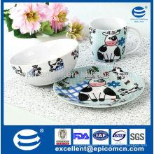 Ensemble de petit-déjeuner à porcelaine adorable 3Pcs pour enfants BC8087