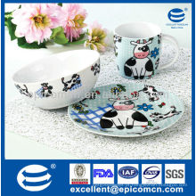 3pcs adorável pequeno-almoço de porcelana para crianças BC8087