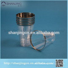 200ml Eco-friendly SGS Transparent high quality dispoable plastic airline cup with silver rim