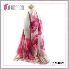 2016 Latest Noble Ladies Shawl Begonia Print Satin Cotton Scarf