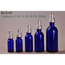Atornille la botella de cristal azul de la bomba de aluminio de plata (klc-6)