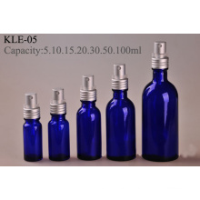Screw Silver Aluminum Pump Blue Glass Bottle (klc-6)