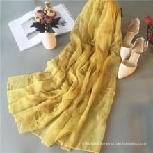 Summer hot selling Malaysia muslim hijab scarf solid color silk chiffon scarf embroidery scarf