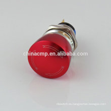 Interruptor de botón resistente al vandalismo de metal de 19 mm, interruptor de botón de emergencia