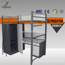 dormitory bunk bed with study table/metal bunk bed with desk