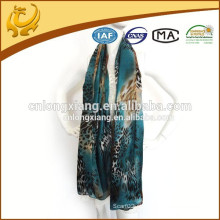 110 * 180cm Longo tamanho de fábrica de seda de chiffon floral impresso tecido xale
