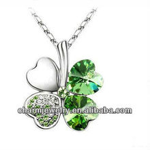 Rhodium Plated Crystal Heart Four Leaf Lucky Clover Pendant Necklace For Women (PE-002G)