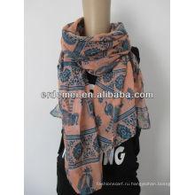 Винтажный широкоформатный шаль-шарф