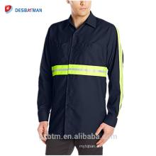 Poly-Cotton Long Sleeve High Visibility Knopf-Hemden Industrieller Abnutzungs-Sicherheits-reflektierendes T-Shirt der Männer mit Taschen