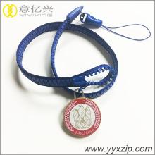 phone strip zip lanyard with rubber tag custom