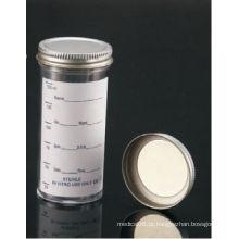 Registrados pela FDA e aprovados pela CE, recipientes de amostra de 100 ml com tampão de metal e etiqueta impressa