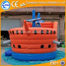 Bouncer inflable anaranjado y azul del barco pirata, castillo plástico inflable del castillo