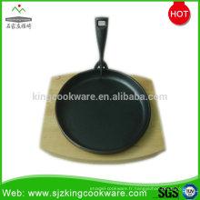 Poêle à griller ronde pré-assaisonnée en gros avec base en bois