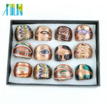 Handgemachte Mischungs-Farben-Goldsand Lampwork Glasringe in der Masse 12pcs / box, MC1007