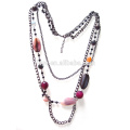 Fashion Long Natural Agate Stone Gunblack Brass Chain Necklace