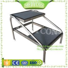 Metal two steps foot stool hospital steep stool