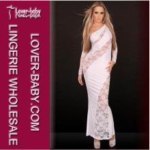 Evening White Women Long Gown Dress Pijamas de dormir (L5053-1)