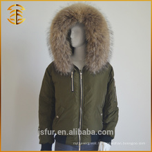 Factory Wholesale Custom Raccoon Hood Zipper Ladies Fur Parka
