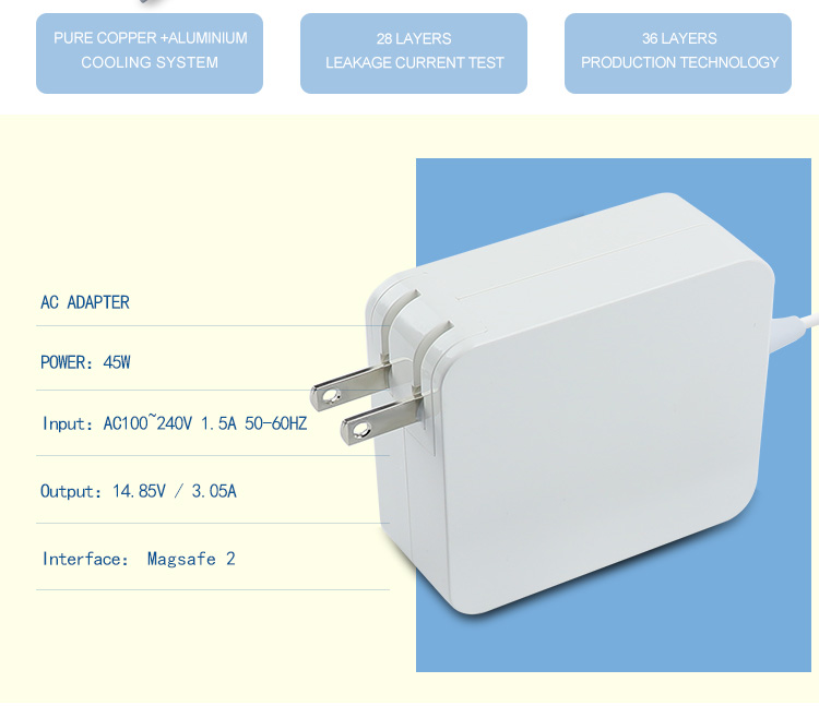 14.85V 3.05A US PLUG iphone wall poweradapter