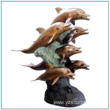 Life Size Bronze Dolphin Sculpture for Garden Decoration