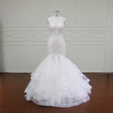 Vestido de noiva de praia de renda manga longa (XF16009)