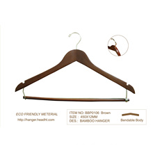 Hotel Ecofriendly Bamboo Wood Clothes Hanger W S Locked Bar