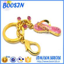 Porte-clés pendentif chaussure flip flop en métal bon marché pour la promotion
