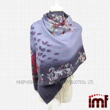 Xaile de lã de mulher elegante e Pashmina de lã com flor impressa