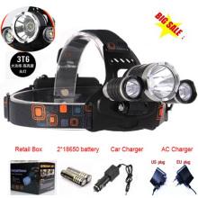 3PCS CREE T6 LED farol recarregável