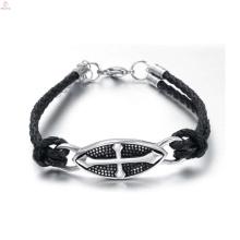 Top quality christian gothic leather bracelets, gothic charm bracelet jewelry