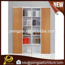 melamine modern white and brown four door bookshelf with glass