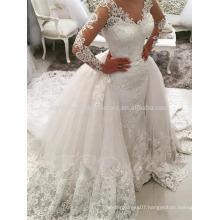 Romantic 2017 V-Neck Bride Beautiful Detachable Train Vestidos De Novia Lace Mermaid Long Sleeve Wedding Dress MW961